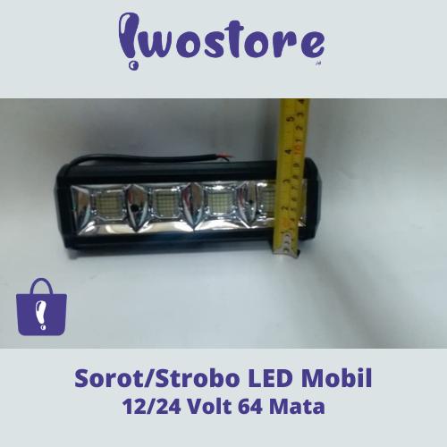 Jual Lampu Strobo LED Mobil Sorot 12/24 Volt 64 Mata